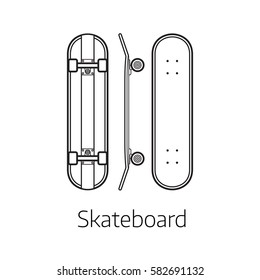 Skateboard deck vector illustration. Alternative city transport skate board in thin line design. Personal transportation self-balancing device. Skating desk from different sides.