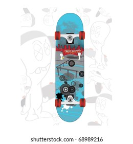 skateboard  design with cartoon skate park and city with graffiti