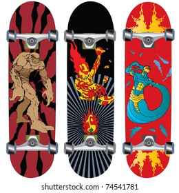 skateboard design with fire and monster over patterns