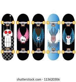 skateboard design set of five
