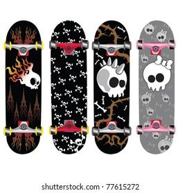 skateboard design with skull and bones background