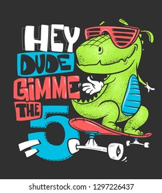 Skateboard dinosaur urban t-shirt print design, vector illustration