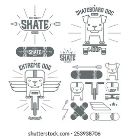 Skateboard dog emblems and icons. Graphic design for t-shirt. Grey print on white background