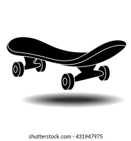 Skateboard flat icon with long shadow, vector line icon