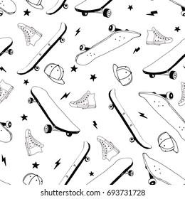 skateboard hand drawing illustration vector.