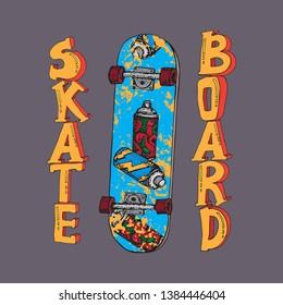 Skateboard hand drawn vector illustration. Doodle Longboard, pennyboard. Lettering skateboard. For poster, t-shirt, textile.