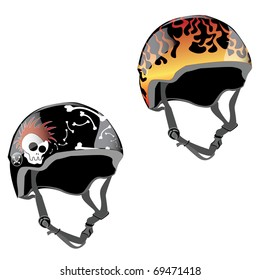 skateboard helmet design with fire and skull with mohawk and bones