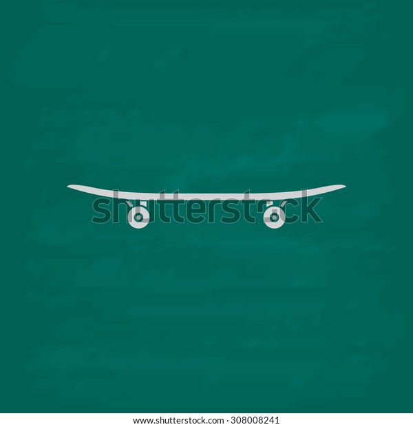 Skateboard. Icon. Imitation draw with white chalk on green chalkboard. Flat Pictogram and School board background. Vector illustration symbol