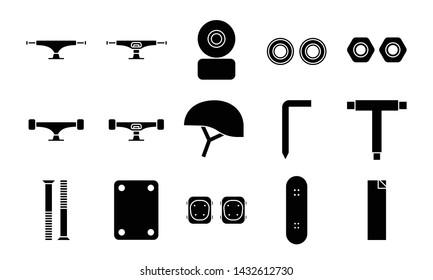 Skateboard icon set. skateboarding tool icon.  parts glyph icon.