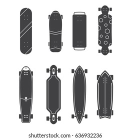 Skateboard icon set. Vector various skate deck in outline design. Skateboarding desks shapes collection. Classic skateboard, longboard, waveboard and more.