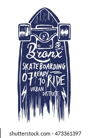 Skateboard illustration with lettering, t-shirt graphics, vectors