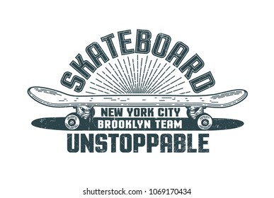 Skateboard logo in the style of hand-drawn hipster print. Grunge texture is on separate layer and is easily turned off.