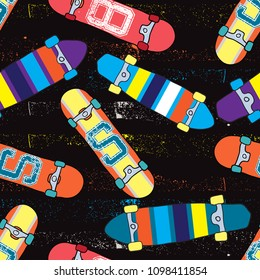 skateboard pattern. Seamless bright abstract pattern with skateboard. Prints for T-shirts, textiles, clothes, sports, and more