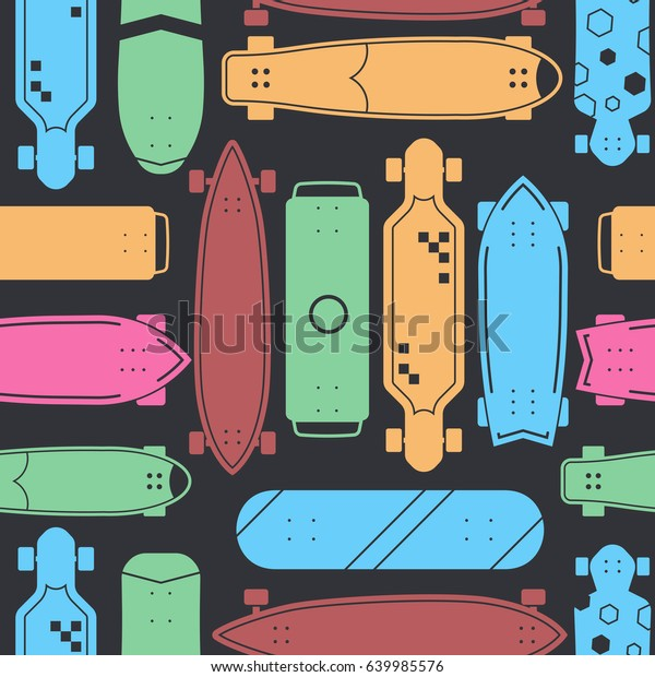 50232483 Skateboard pattern with vector various skate decks in flat design.  Skateboarding seamless background with boards