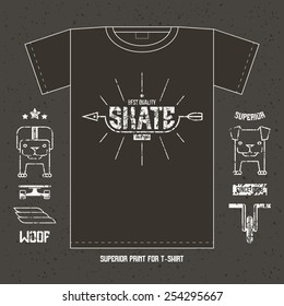 Skateboard ramp emblem and icons. Graphic design for t-shirt. White print on a dark background