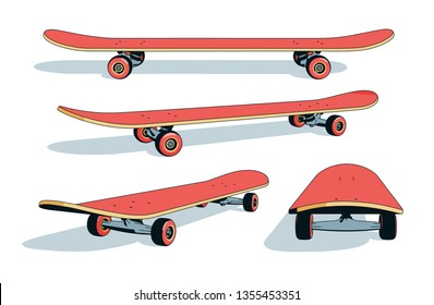 skateboard Realistic 3d cartoon  from different angles. Vector illustration.