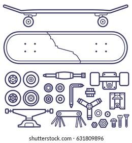 Skateboard repair icon set. Skating and skateboarding tools for repairing service. Skate board repairs equipment. Multi tool, screw-bolt, truck, wheels, screwdriver items pack and cracked skate deck.