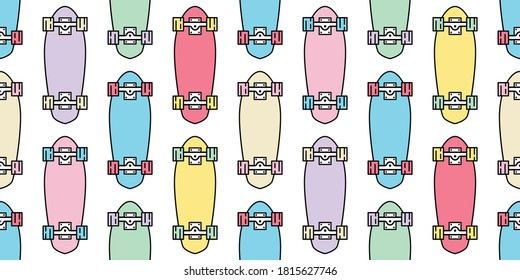 skateboard seamless pattern skating vector cruiser board extreme sport cartoon scarf isolated repeat wallpaper tile background illustration gift wrap paper pastel design