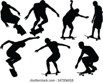 skateboard silhouette - vector