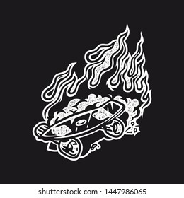 Skateboard Skate Deck Dust Stamp Fire Flame Punk Screen Print Shirt Graphic Black Vector Vintage Style Isolated