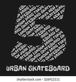 Skateboard, skateboarding, New York, London, Paris, Tokyo, urban, sport typography, t-shirt graphics, poster, banner, flyer, postcard, vector concept