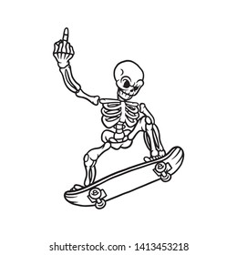 Skateboard skeleton with middle finger up