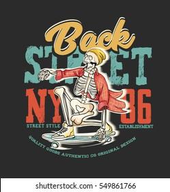 skateboard. skeleton skater. New York streets. vintage t-shirt graphics,