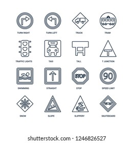 Skateboard, Slippery, Slope, Snow, Speed limit, Turn right, Traffic lights, Swimming, Tall outline vector icons from 16 set