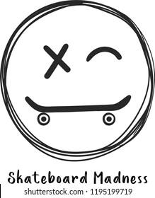 skateboard smile graphic design vector