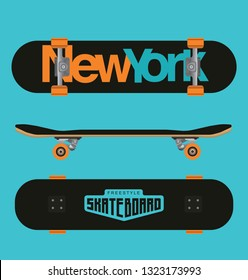 Skateboard top, side and bottom view (Use for helmet, skateboards, stickers, t-shirt, decals typography,logos and design elements)