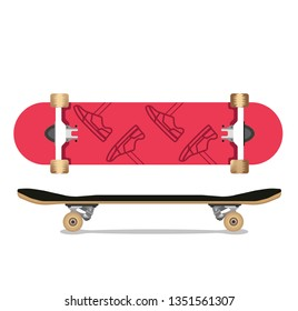 Skateboard top and side view