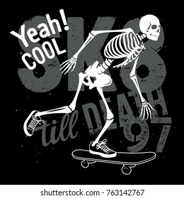 Skateboard t-shirt graphics. Skeleton riding on skateboard. Vector illustration. Skull Tee graphics