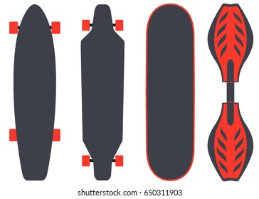 Skateboard types, set. Different skateboards in the same colours. Vector illustration in flat style, isolated on white.