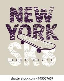 Skateboard typography. Tee graphics. New York skateboarding t-shirt design