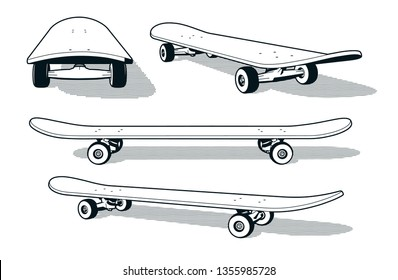 Skateboard in various angles - retro print style black and white 3d vector illustration.