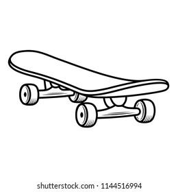 Skateboard. Vector flat outline icon illustration isolated on white background.