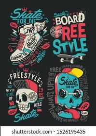 Skateboard vector set design with skull, sneaker, and slogan