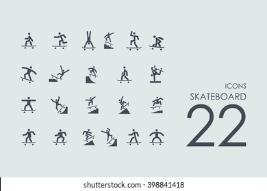 skateboard vector set of modern simple icons