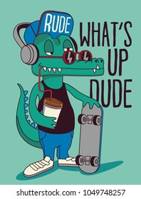 skateboarder crocodile vector design
