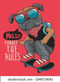 skateboarder dog vector design