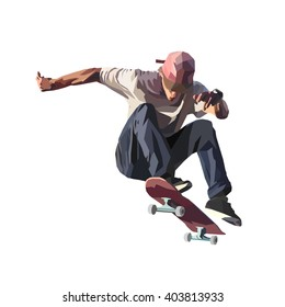 Skateboarder doing a jumping trick, low poly vector illustration.