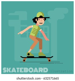 Skateboarder doing a jumping trick, vector illustration.
