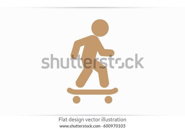 Skateboarder icon vector EPS 10, abstract sign flat design,  illustration modern isolated badge for website or app - stock info graphics