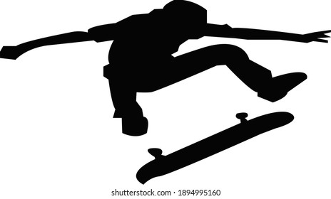 skateboarder jumping vector graphic illustration on white background. perfect for t-shirt designs, key chains, etc.