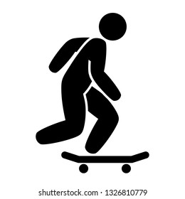 Skateboarder on a Skateboard - generic traffic sign style