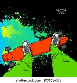 Skateboarder on a skateboard. Grunge background with blots. Vector illustration