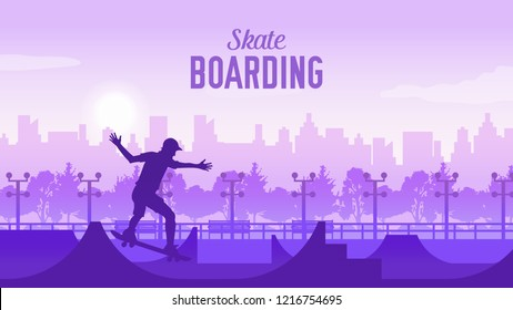 Skateboarder in the park on skateboard illustration.  sportsman on landscape of the city doing a trick. Skater doing kickflip on the ramp. young skateboarder legs skateboarding at skatepark