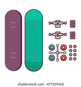 Skateboarder set. Summer activities. Vector flat illustration