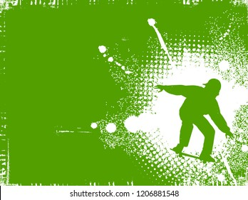 Skateboarder silhouette on green background
