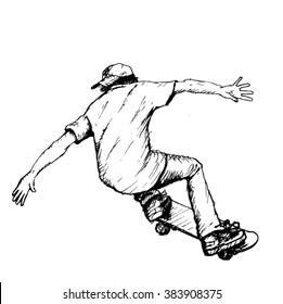 skateboarder sketch - vector